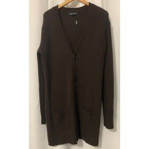 Dolce & Gabbana Men's Brown Wool Long Cardigan  XL